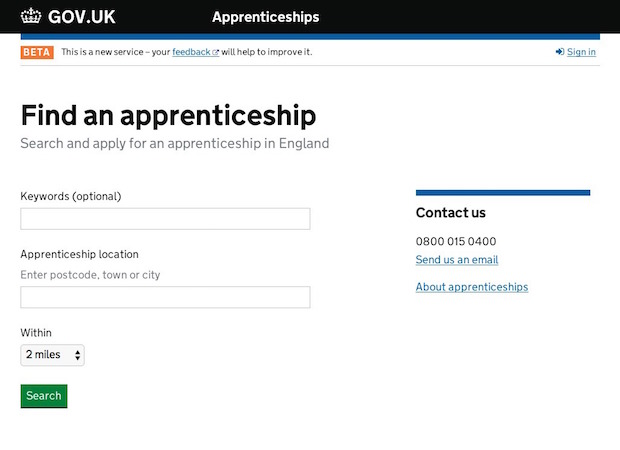 Apprenticeships Exemplar screenshot