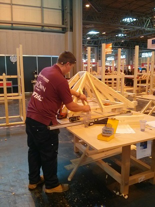 Carpentry competitor at Skills Show 2014
