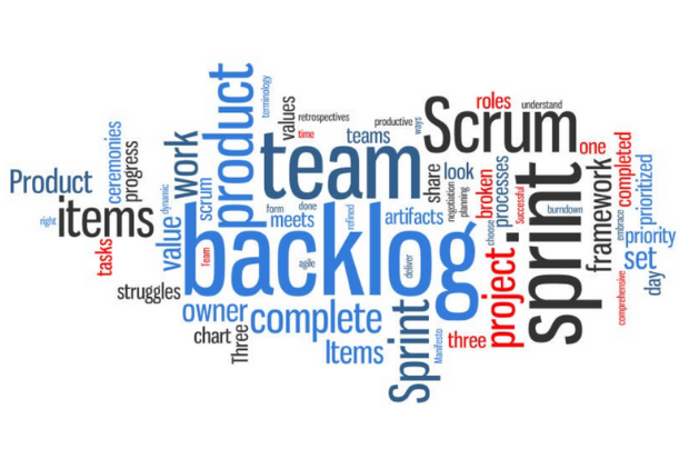 Agile word art cloud using the words; product, right, items, tasks, ceremonies, progress, struggles, value, dynamic, work, scrum, team, owner, chart, backlog, three, terminology, form, done, meets, agile, complete, sprint, refined, productive, retrospective, time, artifacts, ways, deliver, share, manifesto, look, negotiation, planning, broken, roles, understand, framework, priority, prioritised, day, set, comprehensive and process
