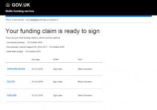 Funding claim mockup