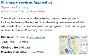 Find an apprenticeship travel time