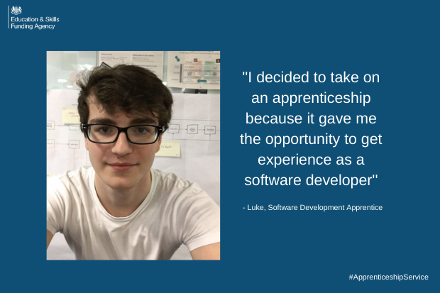 Luke, author of the blog saying I decided to take on an apprenticeship because it gave me the opportunity to get experience as a software developer