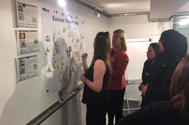 A provider workshop with 4 people using post-it notes to create an empathy map on a wall