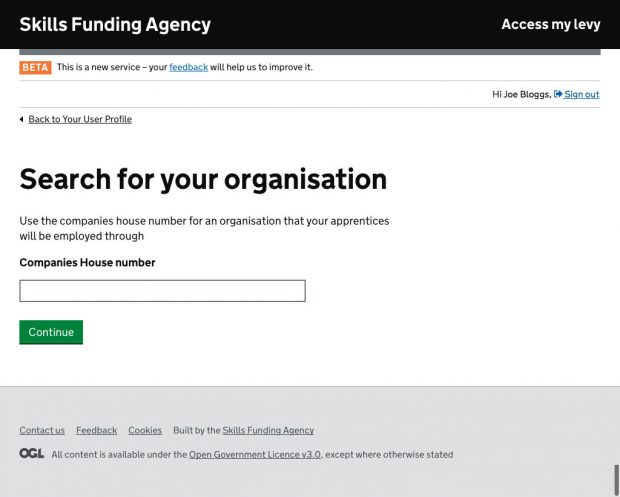 An image of searching for Companies House