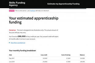 Estimate my apprenticeship funding example