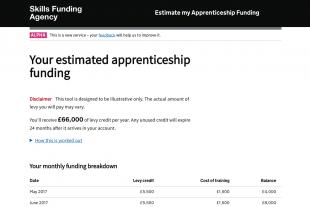 Estimate my apprenticeship funding example