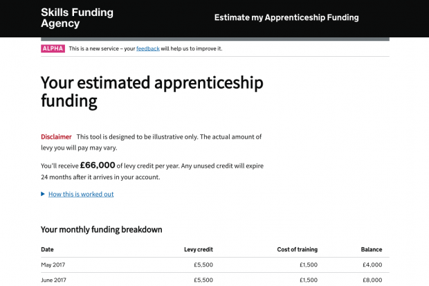 Estimate my apprenticeship funding example of monthly funding breakdown. Monthly funding breakdown includes the date, levy credit, cost of training and balance