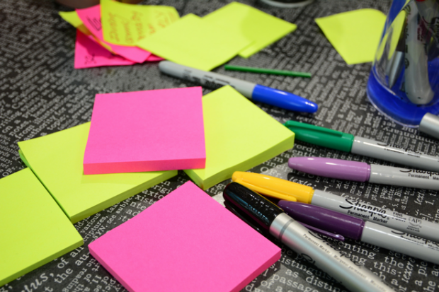 Post-it notes and sharpies