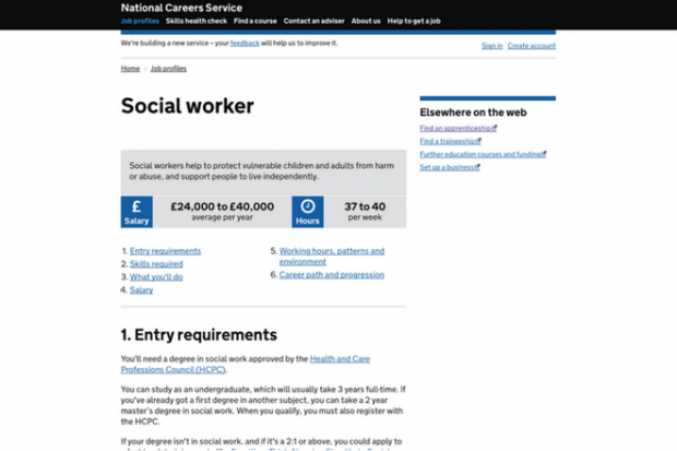 An example of a job profile on the digital careers service