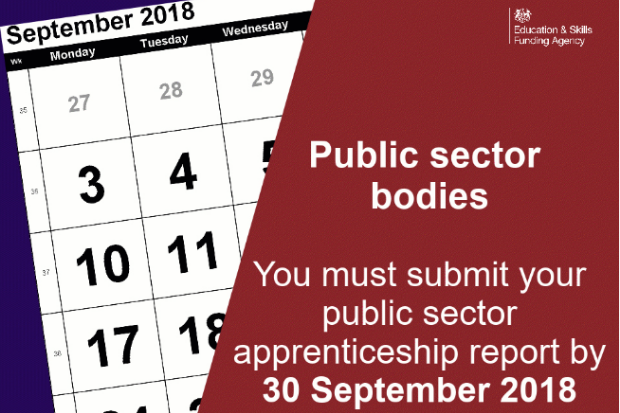 September 2018 calendar with text saying public sector bodies you must submit your public sector apprenticeship report by 30 September 2018