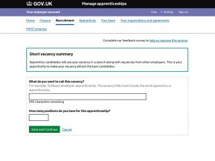 Screenshot from GOV.UK displaying the manage apprenticeships recruitment page