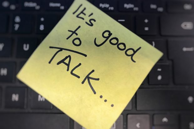 Its good to talk written on a post it note