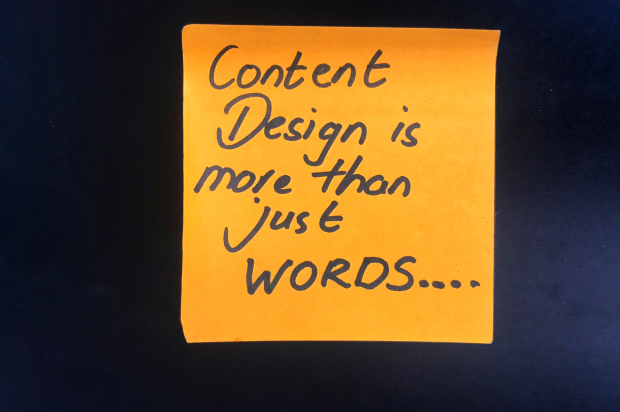 post it note ,saying content design is more than just words
