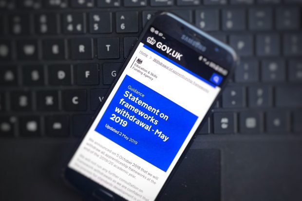 mobile phone screen showing Gov.uk guidance page open on , statement on frameworks withdrawal-May 2019