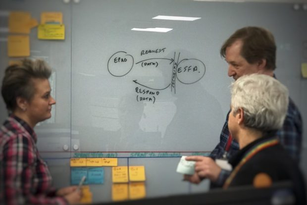 A Product Manager and two of her team discussing the launch of the API in front of a whiteboard