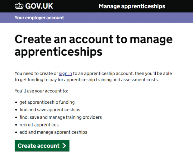 Screenshot of Manage apprenticeship create account home page