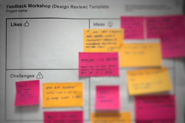 Template used during a design crit feedback workshop. Shows four sections: likes, ideas, challenges and questions, and post-it notes in each section. Blurred text.