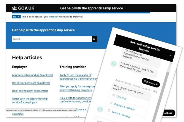 Screenshot of the GOV.UK homepage for get help with the apprenticeship service, showing links to employer and training provider help articles.
