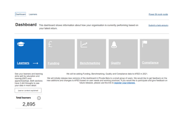 Snapshot of the dashboard or the home page. A provider can review their learners' details based on each ILR return by clicking on the Learner tile.