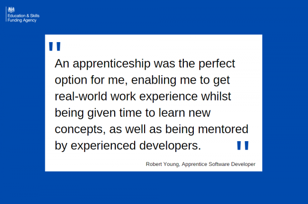 Direct quote from the blog reading an apprenticeship was the perfect option for me, enabling me to get real-world work experience whilst being given time to learn new concepts, as well as being mentored by experienced developers.