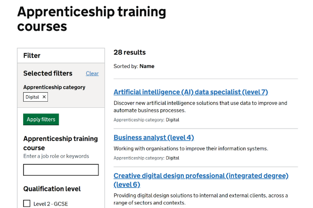 Employers are able to search for appropriate training courses and training providers as part of the Find Apprenticeship Training service. An example of a search inputted into FAT. The GOV.UK webpage displays a filter section. This demo shows a search for 'digital' apprenticeships. There is then a list of apprenticeships that are available displayed, varying in course levels and titles.