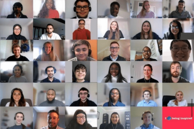 Microsoft Teams screen overview showing 35 participants head shots who dialled into the Capgemini graduate and apprentice induction virtually.